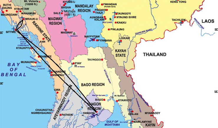 map-for-mrauk-u-tour-in-arakan-state